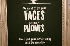 "Large ""no phones"" wedding sign"